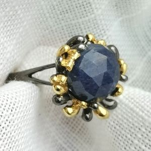 NWT Sapphire sterling silver 14k gold ring